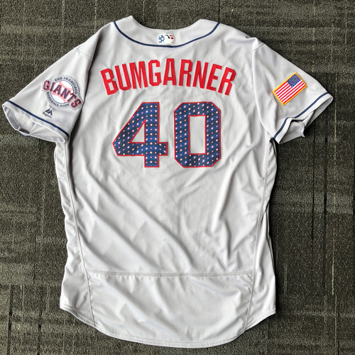 Photo of San Francisco Giants - 2018 Game-Used Stars & Stripes Jersey worn by #40 Madison Bumgarner on July 2nd, 2018 - 6.0 IP, 5 K's - Size 50