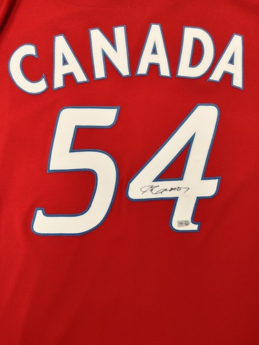 "Photo of Authenticated Game Used and Autographed Jersey - #54 Jason Frasor (July 1, 2011: 0.2 IP with 1 Hit and 1 ER). Size 46. Name bar says ""Canada""."