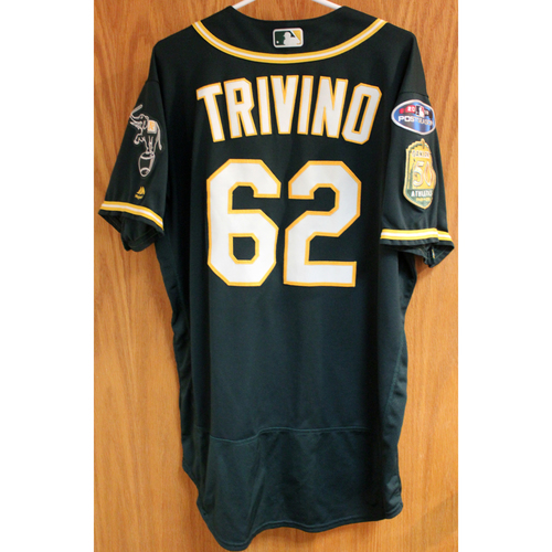 Photo of Game-Used Jersey: Lou Trivino AL Wild Card Game 10/3/18