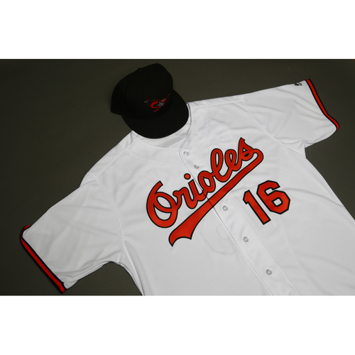 """Photo of Trey Mancini Autographed, (Team-Issued or Game-Worn) 1989 """"Why Not"""" 30th Anniversary Jersey and Cap"""