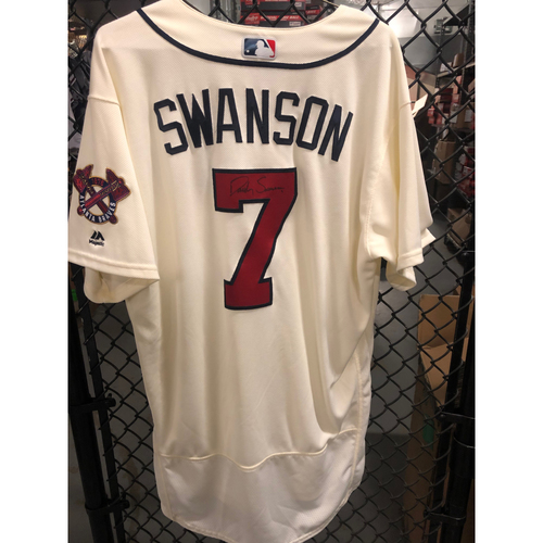 Photo of Dansby Swanson 2018 Game Used and Autographed Jersey
