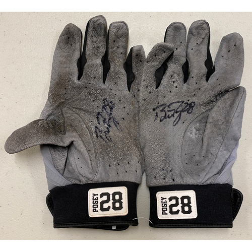 Photo of 2020 Black Friday Sale - #28 Buster Posey Team Issued Autographed Gray Marucci Batting Gloves