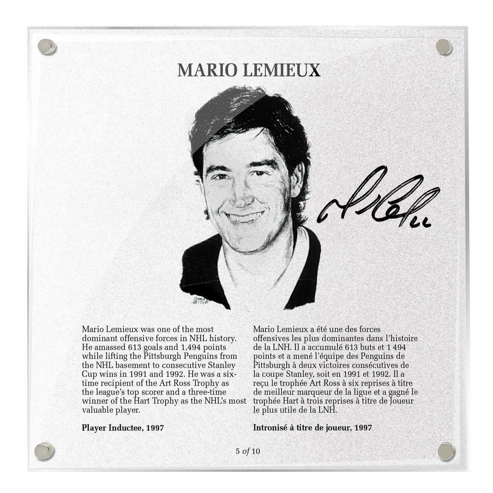 Mario Lemieux Autographed Legends Line Honoured Member Plaque - Limited Edition 5/10