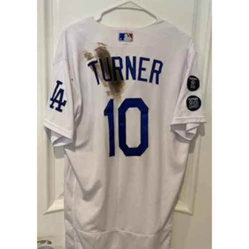 Photo of Justin Turner Authentic Game-Used Jersey from 5/11/21 Game vs. SEA