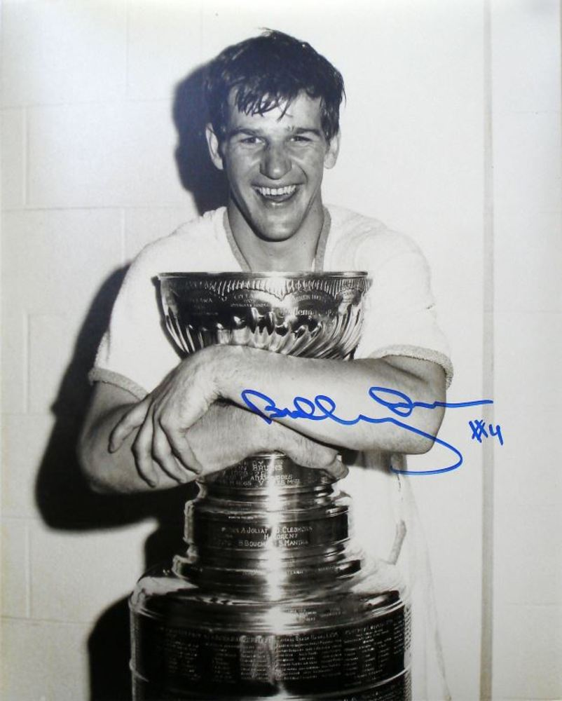 Bobby Orr - Signed 8x10 Bruins Hugging the Stanley Cup Photo