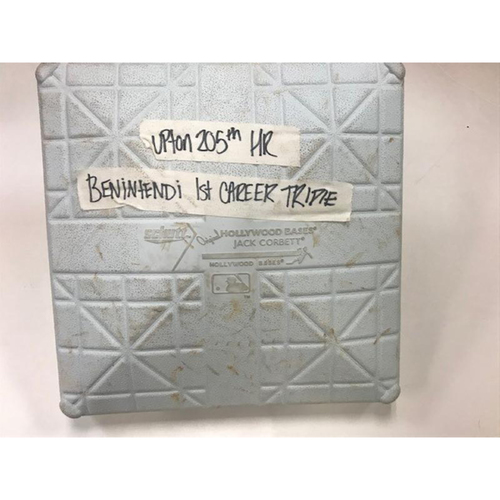Photo of Game-Used Base: Andrew Benintendi's 1st Career Triple and Justin Upton 205th Career Home Run
