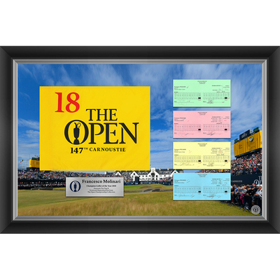 4 of 20 L/E Francesco Molinari, The 147th Open 1,2,3 & Final Round Scorecard Reproductions and Souvenir Pin Flag Framed