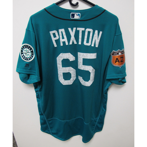 Photo of Seattle Mariners James Paxton Team Issued 2017 Spring Training Green Jersey
