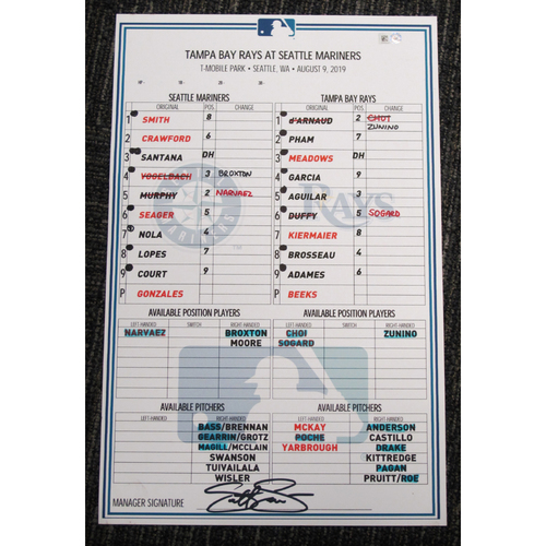 Photo of Seattle Mariners 2019 Game-Used Lineup Card - Edgar Martinez Hall of Fame Celebration Weekend - August 9