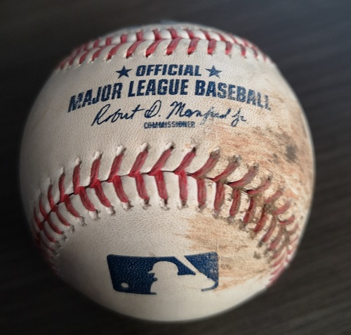 Photo of Authenticated Game Used Baseball: Single by DJ LeMahieu against Sam Gaviglio (Sept 13, 19 vs NYY). Top 6.