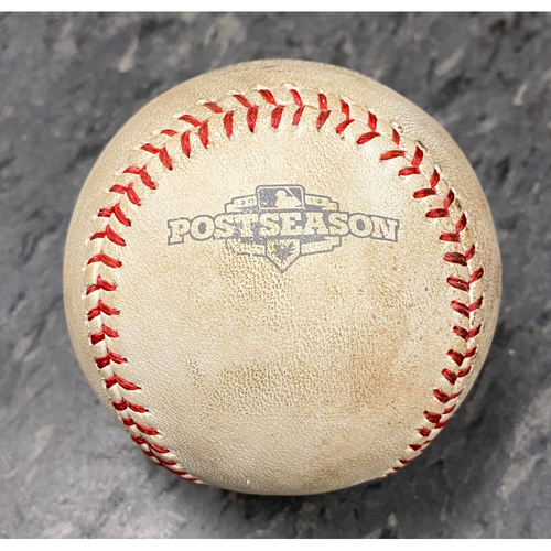 Photo of 2012 NLDS Game 2 Game Used Baseball used on 10/7 vs. Cincinnati Reds - B-4: Bronson Arroyo to Angel Pagan - Pitch in the Dirt