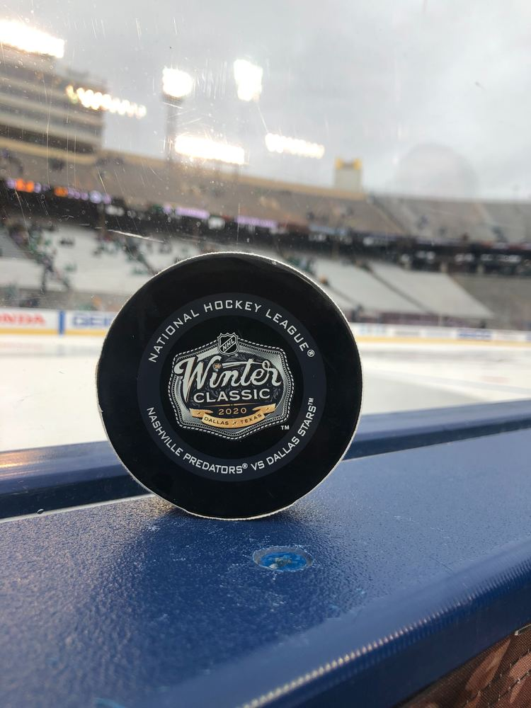 Blake Comeau Dallas Stars Game-Used Goal Puck from the 2020 NHL Winter Classic on January 1, 2020 vs. Nashville Predators
