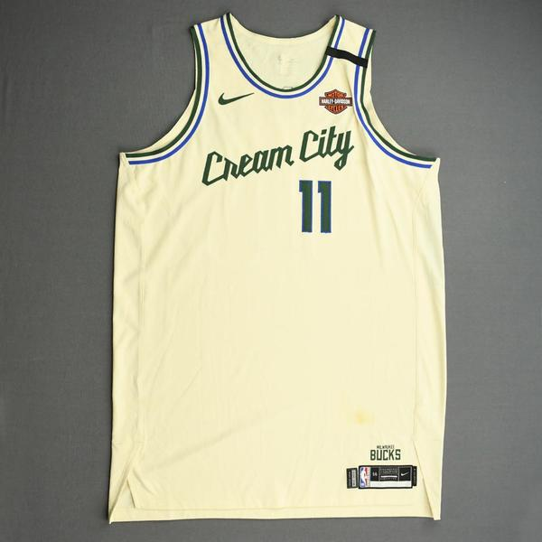 Image of Brook Lopez - Milwaukee Bucks - Game-Worn City Edition Jersey - 2019-20 NBA Season Restart with Social Justice Message