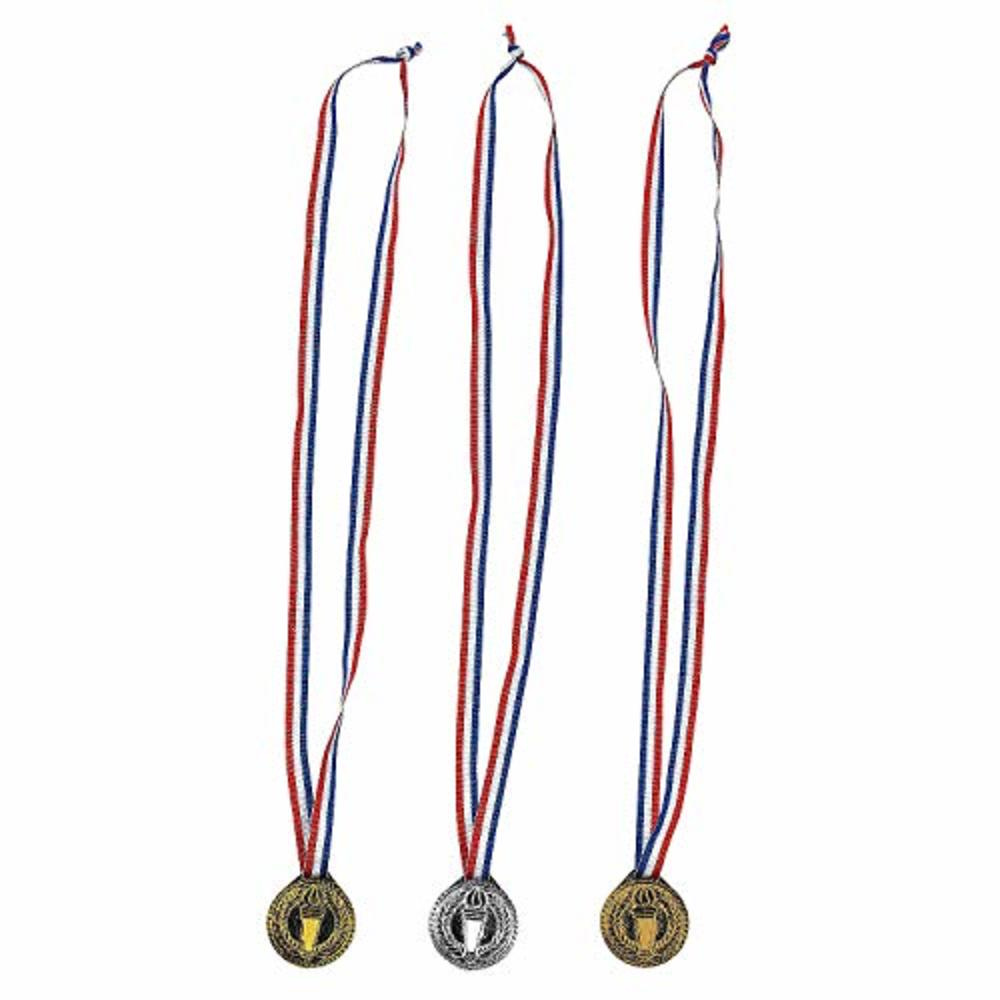 Photo of Fun Express Torch Award Medals Set -12 Medals of Gold, Silver and Bronze - Great for Games and Ceremonies