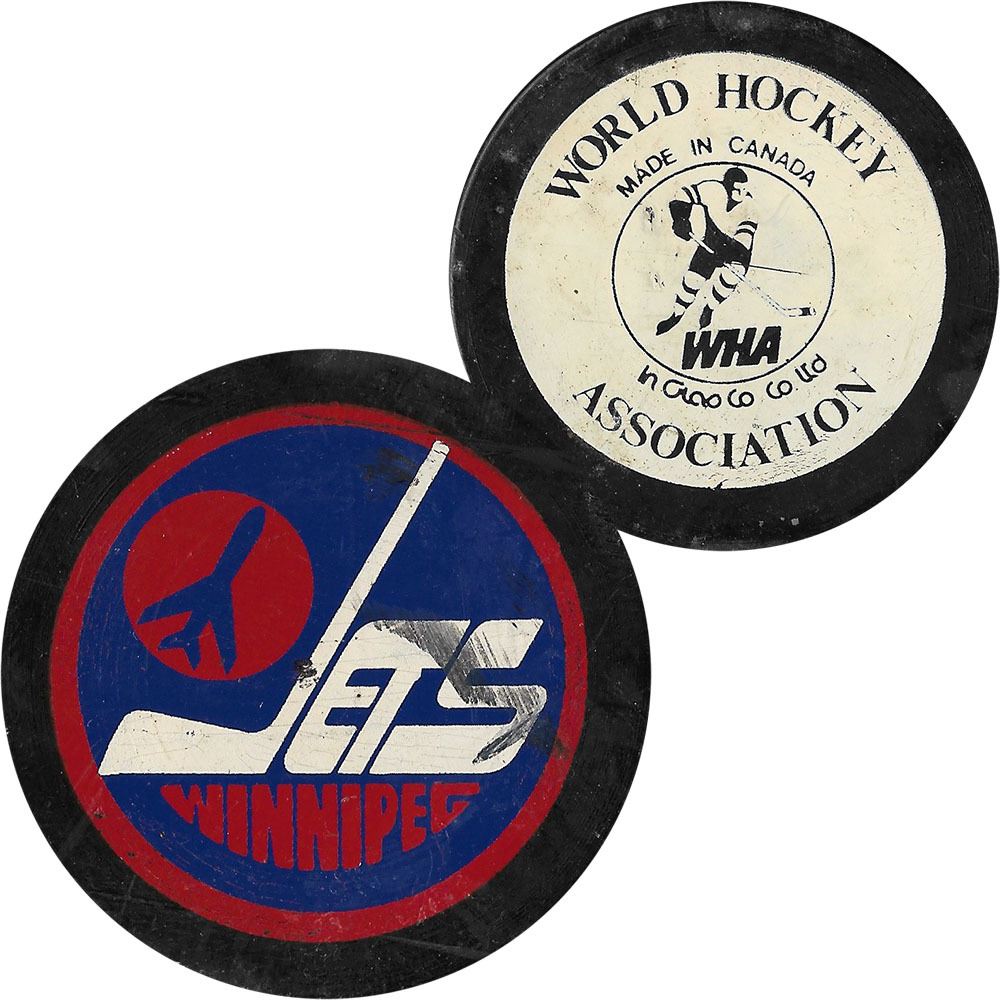 Game-Used Winnipeg Jets WHA Puck - From the Collection of Mark Howe