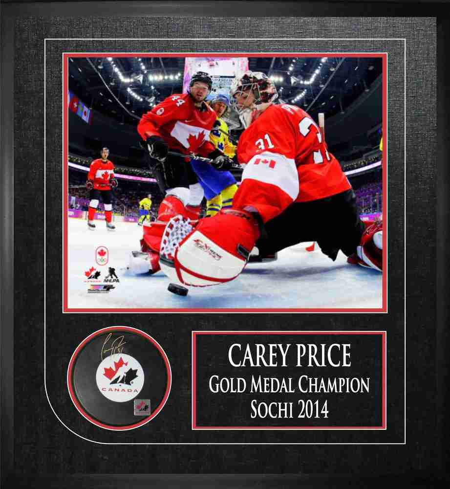 Carey Price - Signed  & Framed 2014 Olympics Team Canada Puck & 8x10