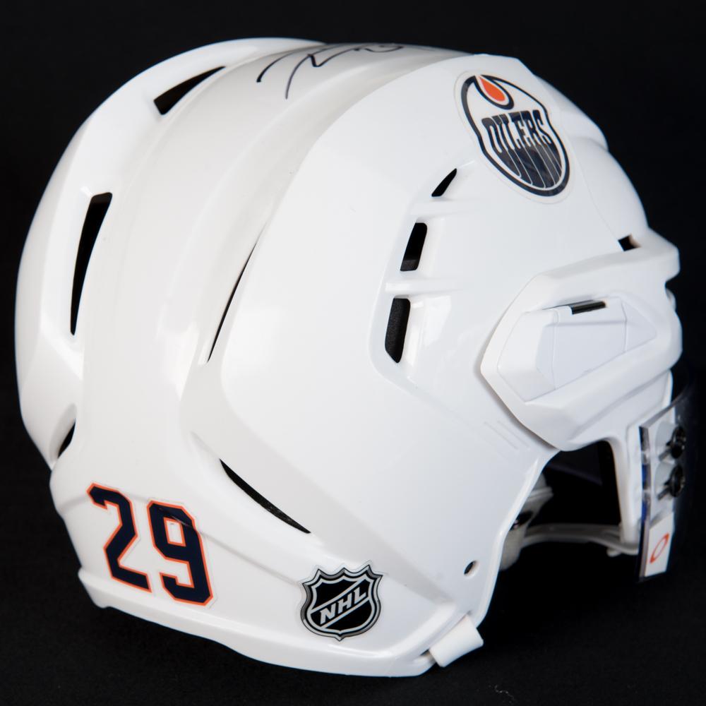 Leon Draisaitl #29 - Autographed 2017-18 Edmonton Oilers Game-Worn White Warrior Helmet (1st Half Of Season)