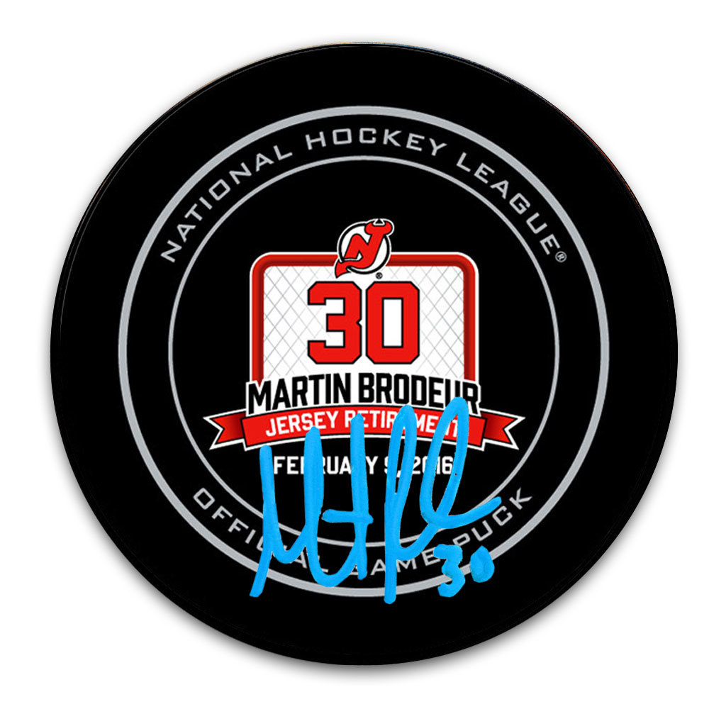 Martin Brodeur New Jersey Devils Retirement Night Autographed Official Game Puck