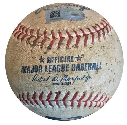 Photo of Game-Used Baseball from Pirates vs. Phillies on 7/6/18 - Valentin K, Hernandez Single, Hoskins Walk, Herrera Foul