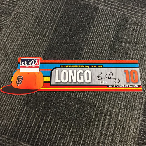 Photo of 2018 San Francisco Giants - Autographed Team Issued Players Weekend Locker Tag - #10 Evan Longoria