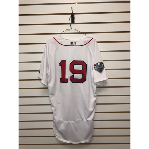 Photo of Jackie Bradley Jr. Game-Used October 23, 2018 World Series Game 1 Jersey