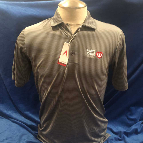 Photo of UMPS CARE AUCTION: UMPS CARE Antigua Quest Polo Shirt, Grey with White Stripes, Size Medium
