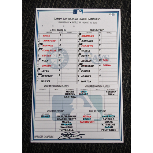 Seattle Mariners 2019 Game-Used Lineup Card - Edgar Martinez Hall of Fame Celebration Weekend - August 10