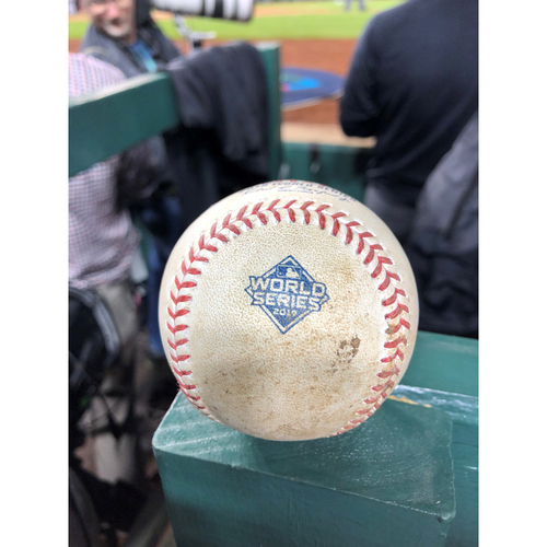 Photo of Game-Used Baseball: 2019 World Series - Game 3 : Pitcher: Anibal Sanchez, Batter: George Springer, Single to Pitcher - Top 1
