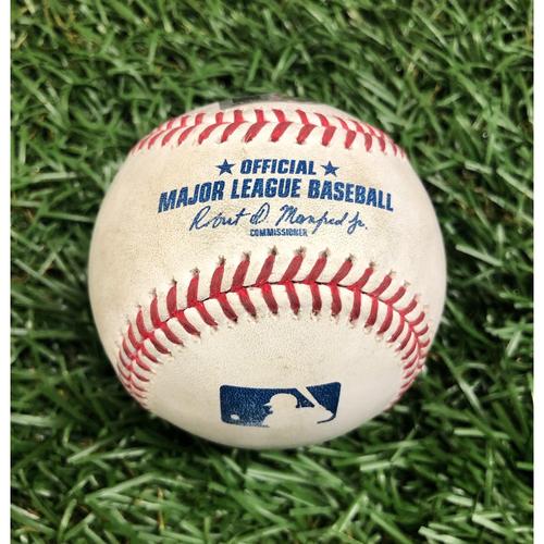 Photo of Game Used Baseball: Yoshitomo Tsutsugo strike out and Kevan Smith foul ball off Ryan Brasier - September 13, 2020 v BOS