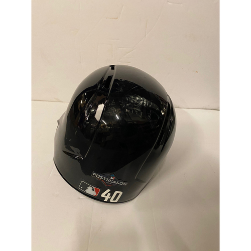 Photo of Mike Soroka Team Issued Home Helmet with 2019 Postseason Sticker
