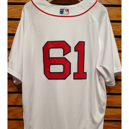 Photo of Brian Johnson #61 Team Issued Home White Jersey
