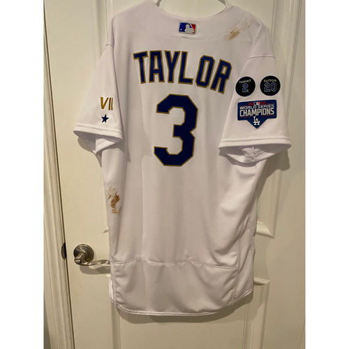 Photo of Chris Taylor Special-Edition Home Opening Weekend Gold-Outlined Game-Used Jersey