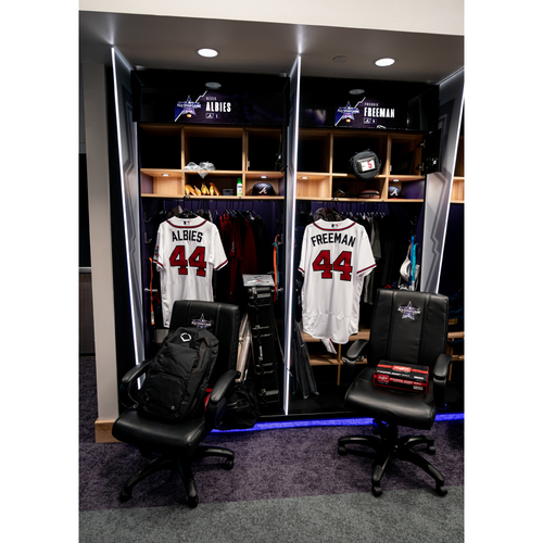Photo of 2021 All-Star Game Clubhouse Chair Panel from Ozzie Albies' Locker Chair