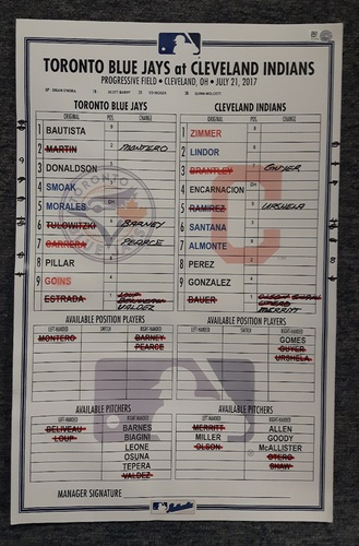Photo of Authenticated Game Used Lineup Card - July 21, 2017 (Encarnacion's 1st HR vs Toronto since leaving in Free Agency)