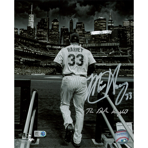 "Photo of Matt Harvey - Autographed 16X20 Photo - Inscribed ""The Dark Knight"""