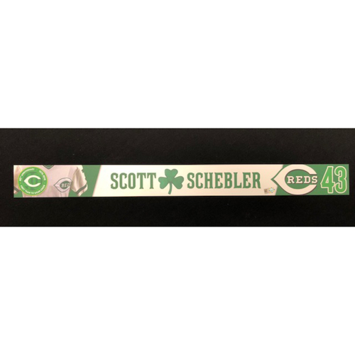 Photo of Scott Schebler -- Reds 40th Anniversary St. Patrick's Day Locker Name Placard -- Game-Used