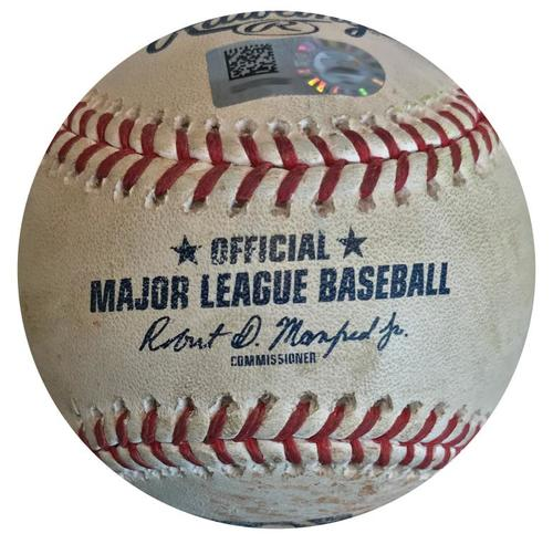 Photo of Game-Used Baseball from Pirates vs. Phillies on 7/7/18 - Jake Arrieta Strikeout