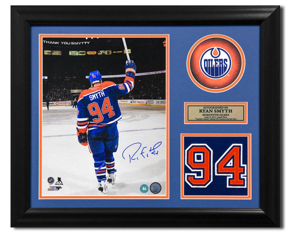 Ryan Smyth Edmonton Oilers Autographed Franchise Jersey Number 19x23 Frame