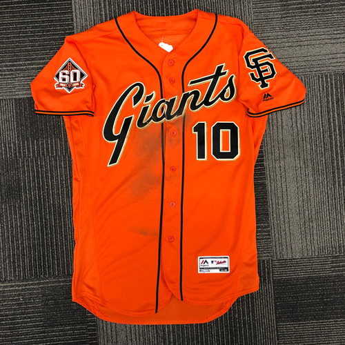 Photo of San Francisco Giants - 2018 Holiday Deal! - 2018 Game Used  Orange Friday Alternate Home Jersey - worn by #10 Evan Longoria on 9/28/18 vs LAD - size 42