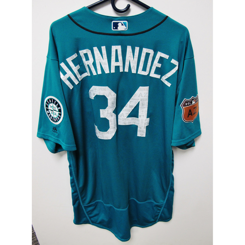 Photo of Seattle Mariners Felix Hernandez Team Issued 2017 Spring Training Green Jersey