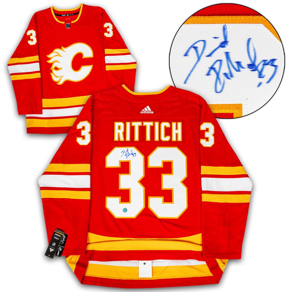 the latest 8ba3e 1f6aa David Rittich Calgary Flames Signed Retro Alternate Adidas ...