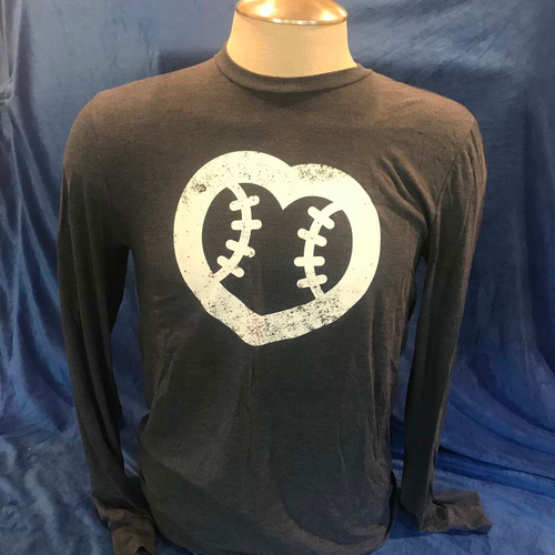 Photo of UMPS CARE AUCTION: UMPS CARE Baseball Heart Logo Men's Longsleeve T-Shirt, Navy w/ White Heart (Select Your Size)