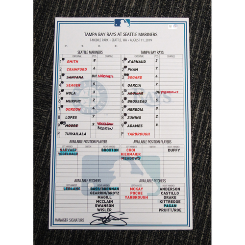 Photo of Seattle Mariners 2019 Game-Used Lineup Card - Edgar Martinez Hall of Fame Celebration Weekend - August 11