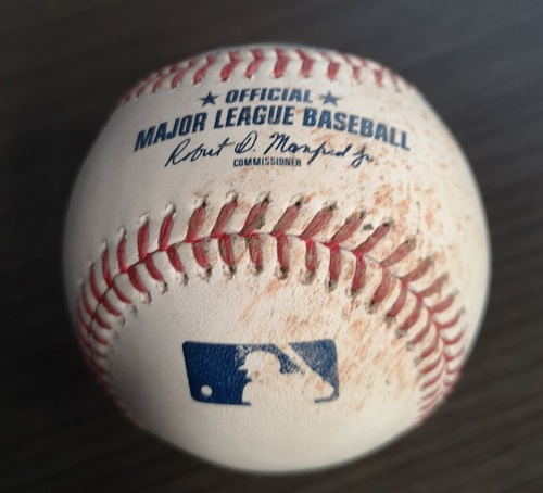 Photo of Authenticated Game Used Baseball: Strikeout by Sam Gaviglio against Luke Voit (Sept 13, 19 vs NYY). Top 7.