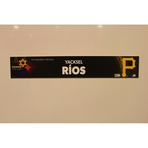 2019 Game Used Locker Nameplate - Yacksel Rios