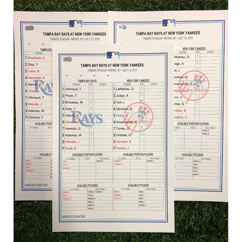 Photo of Replica LineUp Cards: July 15-17, 2019 at NYY - Travis d'Arnaud 3-HR Game