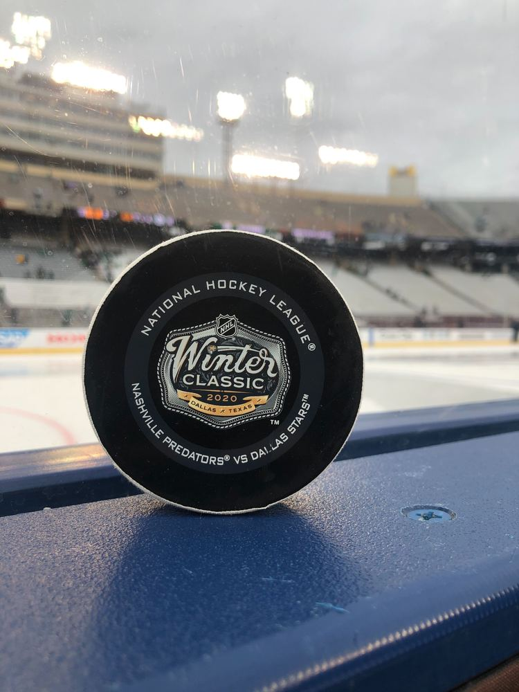 Alexander Radulov Dallas Stars Game-Used Goal Puck from the 2020 NHL Winter Classic on January 1, 2020 vs. Nashville Predators - Game Winning Goal