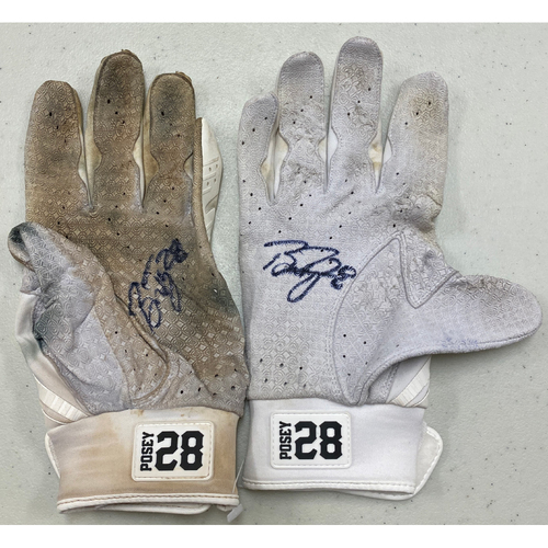 Photo of 2020 Black Friday Sale - #28 Buster Posey Team Issued Autographed White Marucci Batting Gloves