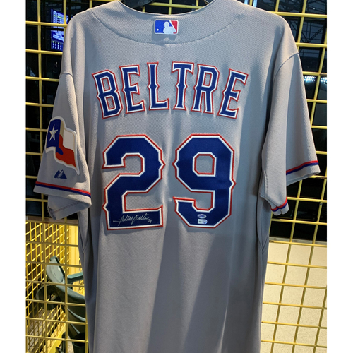 Photo of Adrian Beltre Game-Used and Autographed Road Grey Jersey - July 3, 2014 - Size 46