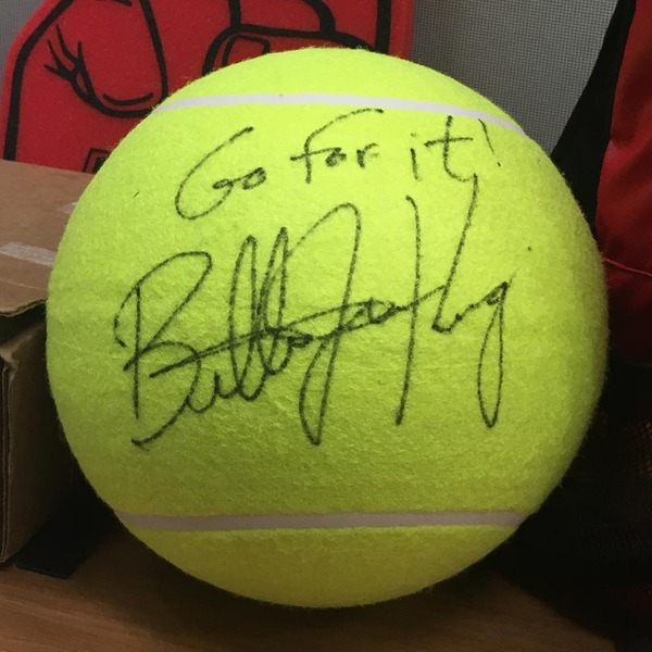 Photo of Billie Jean King Autographed Oversized Tennis Ball
